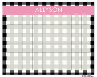"CHECK weekly planner in reverse-trellis pattern - 14"" x 11"" with magnet, wall mount and dry erase marker included"