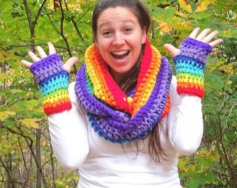 chakra rainbow infinity cowl scarf neckwarmer circle scarf and matching fingerless gloves