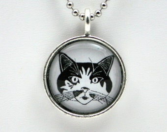 Cat face pendant, feline, smiling cat, black and white kitty, pussy cat jewelry, gift for cat lover, crazy cat lady, chat gato, wearable art