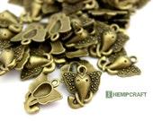 Elephant Charms, 15pc Bronze Elephant Head Metal Charms, 16mm