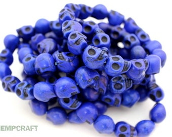 Skull Beads, Blue Day of the Dead Stone Beads - 15pcs - Small 10x12mm