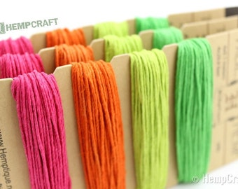 Hemp Craft Cord, 1mm Neon Color Card Hemp Jewelry Twine, Sampler Pack