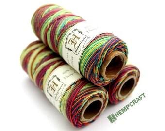 Rainbow Hemp Twine - Multicolor 1mm High Quality Colored Hemp Craft Cord