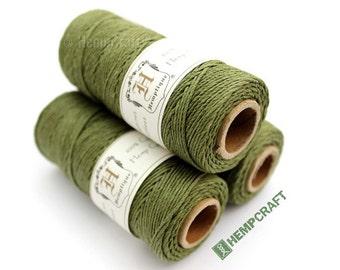 Olive Green Hemp Twine Beading Cord, 1mm 205ft