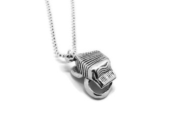 Accordion Necklace, Accordion Jewelry, Accordion Pendant, Charm Necklace, Sterling Silver Jewelry, Sterling Silver Accordion Necklace