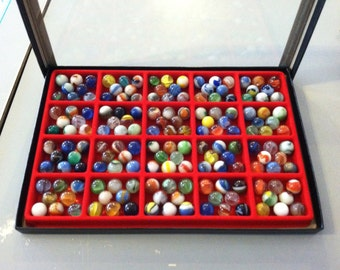 Collection of Vintage Marbles in Display Box 2
