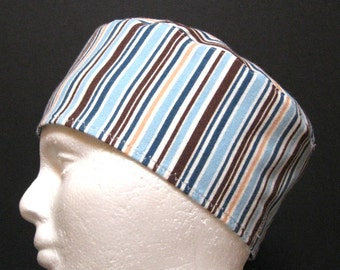 Flannel Scrub Hat, Sleep Cap or Chemo Hat with Stripes of Blue, Brown and White
