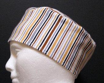 Mens Flannel Scrub Hat, Chemo Hat or Sleep Cap with Brown, Grey and Black Stripes