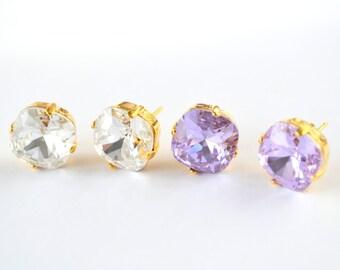 Lilac Swarovski crystal earrings,violet purple stud earrings, crystal earrings, Bridal earrings, Bridesmaid gifts, Bridesmaid earrings