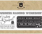 BUSINESS NAMING WORKSHEET - Business Name Brainstorming Worksheet - Creative Branding Development and Brainstorming Tool - Creative Coaching