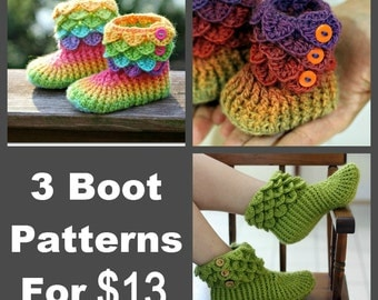 CROCHET PATTERN: Three Boot Patterns (Crocodile Stitch Baby/Child/Adult) for 13 - Permission to Sell Finished Product