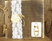 Personalized Rustic Wedding Guest Book - Wood Guest Sign-In Book with Lace and Burlap
