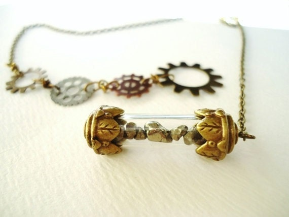 Steampunk Pyrite Filled Bronze Time Capsule Terrarium & Gear Lariat Necklace