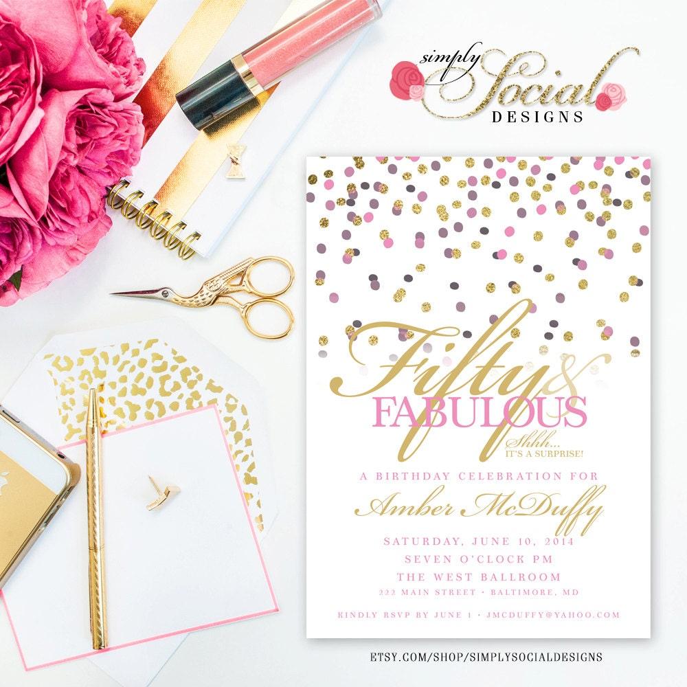 Confetti Surprise 50th Birthday Invitation