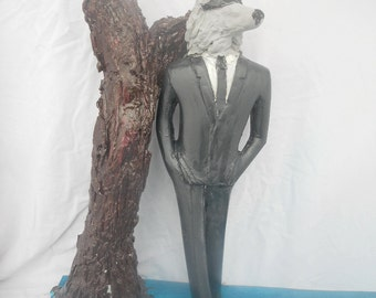 big bad wolf sculpture fairy tale art figure low brow art contemporary boho sculpture