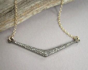 Pave Diamond Necklace Chevron Bar Necklace Oxidized Sterling Silver 14K Gold Fill
