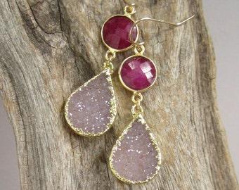 Druzy Earrings Drusy Quartz Ruby Drops Gold Vermeil Bezel Set