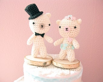 Unique Wedding Cake Topper, Teddy Bear Cake Topper, Bride and Groom Cake Topper
