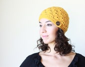 Women crochet hat, Crochet cap women, Mustard hat, Women crochet beanie, chunky hat, Yellow crochet beanie, Women yellow hat, Shell beanie