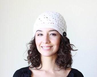 White beanie hat, White crochet hat, White women hat, White women beanie, White crochet beanie, White winter hat, White winter beanie