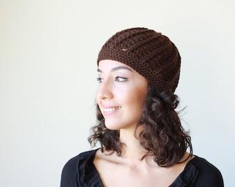 Women beanie cap, Crochet cap for women, Brown beanie hat, Womens Crochet hat cap, Brown Beanie for women