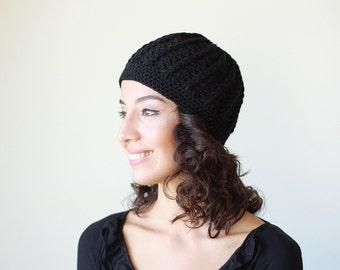 Black beanie hat, Black crochet hat, Black women hat, Black women beanie, Black crochet beanie, Black chunky hat, Black chunky beanie
