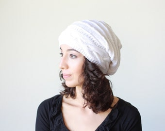 White Slouch hat, Slouch knit hat for women, White Beanie Hat, Oversized hat, White knit hat women, slouchy hat white