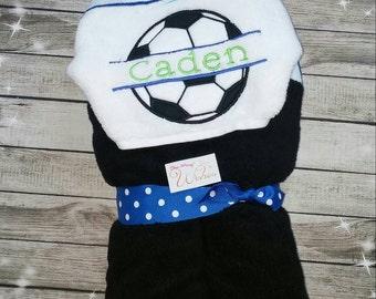 Custom Soccer Hooded Towel