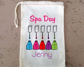 6x10 inch Spa Day, Bachelorette Party, Cloth Gift Bags, Nails and Make up, Personalize no charge, Drawstring Bag