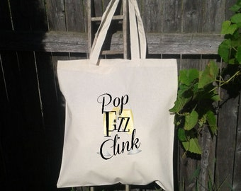 25 Wedding Welcome Tote -Bridesmaid Tote - Bachelorette Party, Pop Fizz CLink, Champagne Glasses