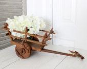 Vintage Wood Tabletop Cart, Rustic Cottage Home Decor