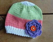 Baby Beanie, Baby Hat, Beanies, in Salmon, White, Green, Purple, Eco Cotton, Flower, Photo Prop Infant Newborn