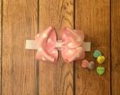 Valentines Day baby Headband, White Baby Headband, Valentine's Day Bow, Red Bow