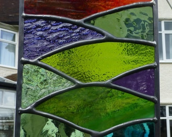 Stained Glass Sunset Over Mountains and Lake Suncatcher MTO