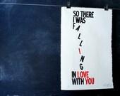 Valentines Falling in Love linocut print poster