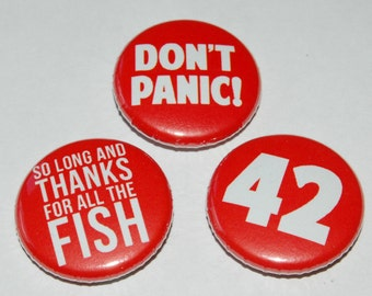 Hitchhiker's Guide to the Galaxy Button Badge 25mm / 1 inch Douglas Adams