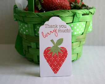 Strawberry thank you tags, Strawberry tags, Strawberry gift tags, Strawberry berry thank you tag