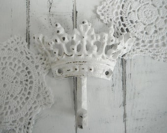 white crown hook cottage chic nursery decor paris apartment rustic hook French country tiara hook coat hook wall hook jewelry hanger