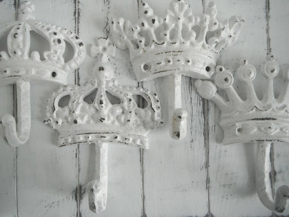 white crown hooks shabby cottage hooks crown nursery hook wall hook set paris apartment french country coat hook tiara hook MADE TO ORDER