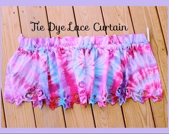 Tie Dye Curtain ,Beautiful Tie Dye One Panel Cotton Lace Trim Curtain, Up  Cycle ,Kitchen, Den , Bedroom, Hand