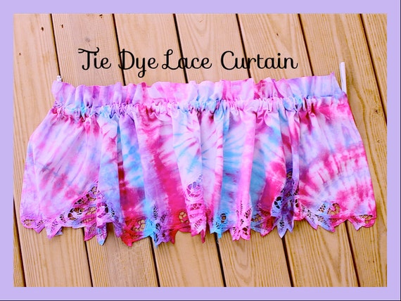 Items Similar To Tie Dye Curtain Beautiful Tie Dye One Panel Cotton Lace Trim Curtain Up Cycle