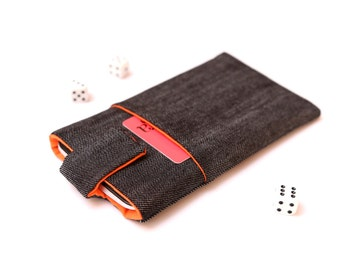Microsoft Lumia 950, Lumia 950 XL sleeve case cover pouch handmade with magnetic closure dark jeans and orange with a pocket