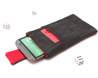 HTC 10, HTC One A9, M9, M8, M7 sleeve case pouch handmade with magnetic closure dark jeans and red with a pocket