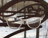Vintage Aluminum eyeglass frame with crystals, like new