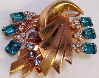 Vintage Art Deco Brooch Costume Jewelry Statement Jewelry Rare Beauty