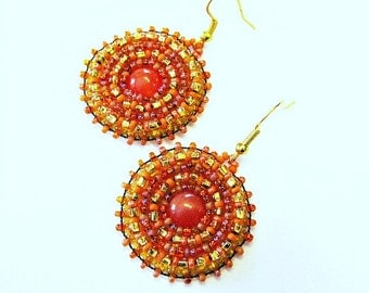 Orange and Gold Cats Eye Beaded Embroidered Earrings