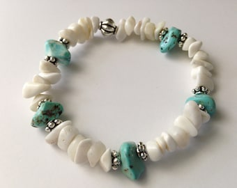 Hand Crafted Bracelet - Composite Turquoise & White Shell (114)