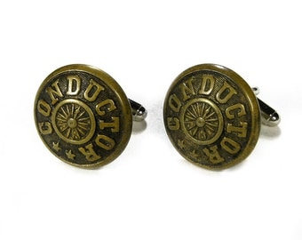 Steampunk Cufflinks Mens Steam Engine CONDUCTOR RAILROAD Uniform Industrial Cuff Links Mens Fathers Day Gift - Jewelry by Steampunk Boutique