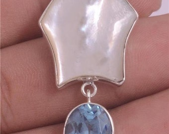 Blue Topaz Mother of Pearl Shell 925 Sterling Silver Pendant