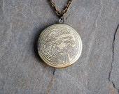 Phoenix, Locket, Necklace, Phoenix Locket, Phoenix Necklace, Bird, Myth, Fire, Photo Locket, Picture Locket, Bronze, Brass, Engraved, Photo